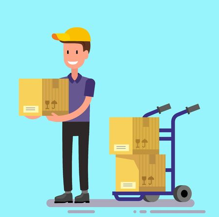 to unload: vector delivery man unload delivery car boxes Illustration