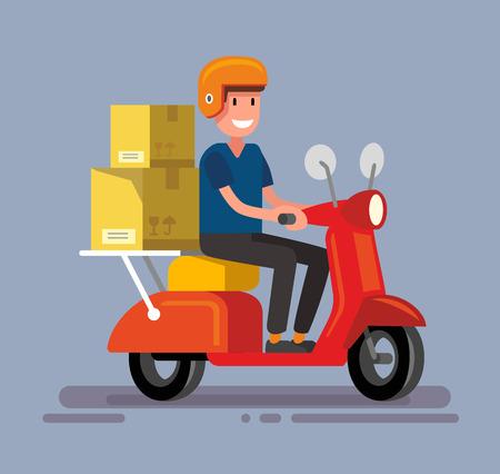 bande dessinée illustration de symbole de livraison à vélo avec l'homme Vecteurs