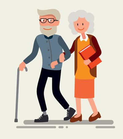 happy older couple: illustration of flat design happy old couple