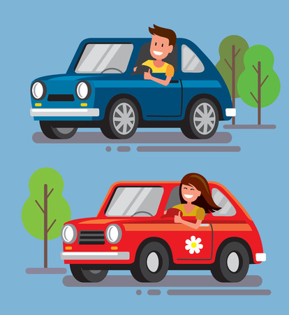 young lady: Vector illustration of flat design driver with car
