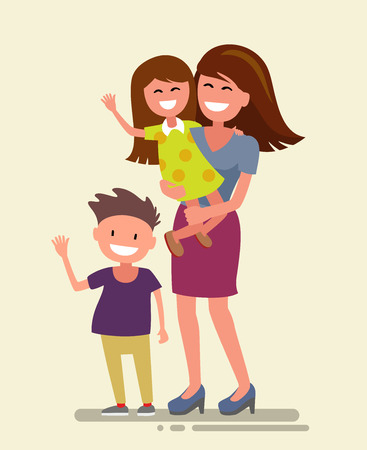 happy asian family: Vector illustration of flat design happy family
