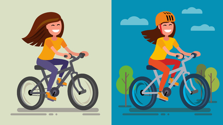 agreeable: Romantic Girl on bicycle on forest road