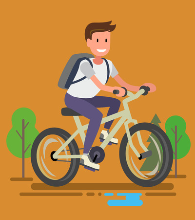 bicyclists: Young bicyclist man with bike on forest road Illustration