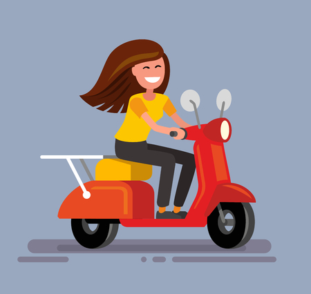 moped: illustration of Girl sitting on scooter