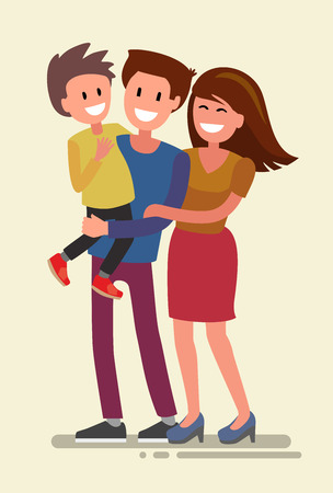 Vector illustration of flat design happy family
