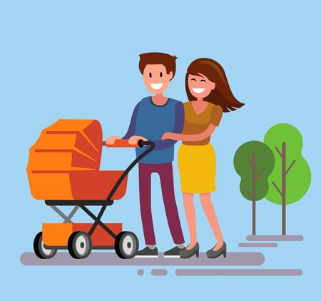 cartoon dad: Cute smiling couple with a orange baby carriage