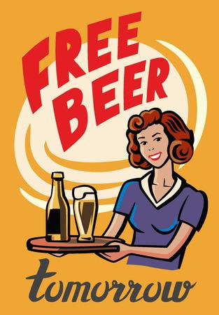 liquor girl: vector color symbol of Retro Beer Girl