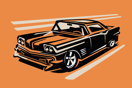 race cars: color vector illustration of retro car poster