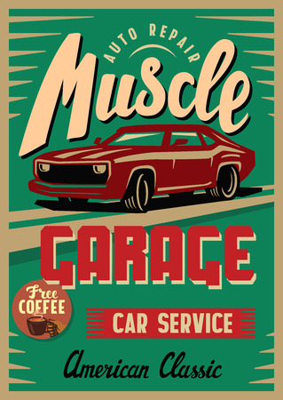 classical mechanics: color vector illustration of retro car poster