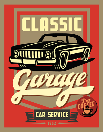 vintage poster: color vector illustration of retro car poster
