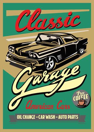 kleur vector illustratie van retro auto poster Vector Illustratie