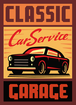 classic cars: color vector illustration of retro car poster