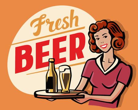 forties: vector color symbol of Retro Beer Girl