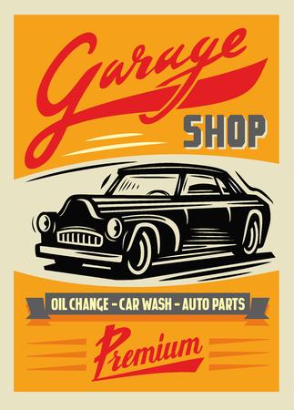 couleur illustration vectorielle de l'affiche de voiture rétro