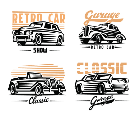 time drive: vector illustration of a retro cars emblem