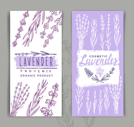 vector two Lavender Banners on gray background Illustration