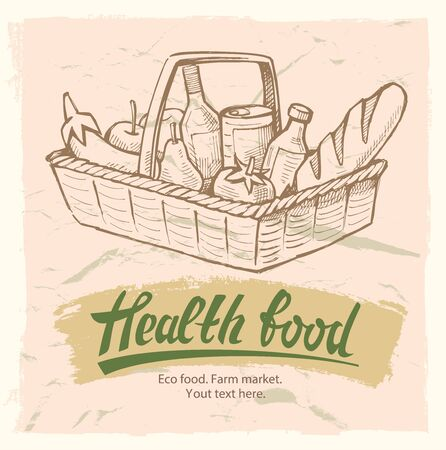 Vector illustration of shopping basket with grocery store food.
