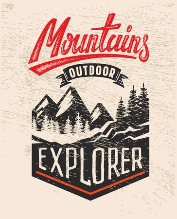 vector Adventure vintage op berg badge Stock Illustratie