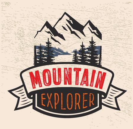 ridge: vector Adventure vintage on mountain badge Illustration