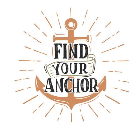 cip: Anchor. Vector vintage logo sailor retro sign Illustration