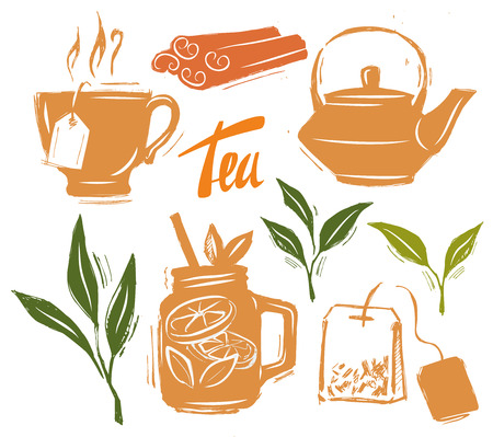 ceylon: Tea time illustration hand drawn on white Illustration