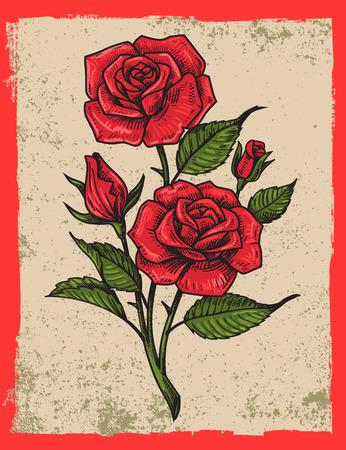 rosas del vector del tatuaje con las hojas en el fondo del grunge