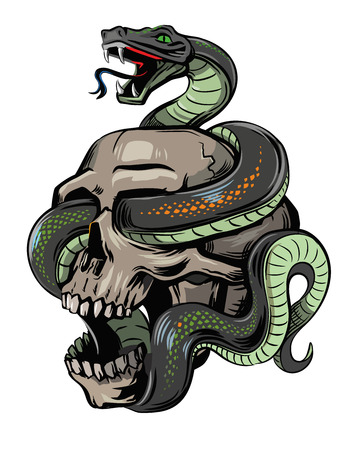 vector skull with snake on white background Çizim