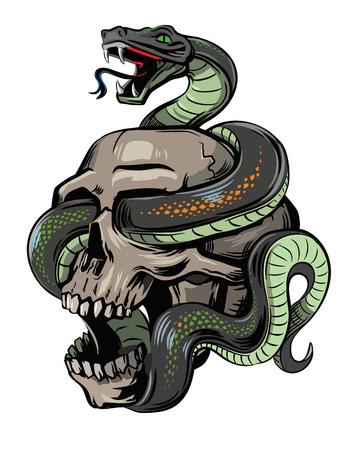 wektor czaszka z wężem na białym tle