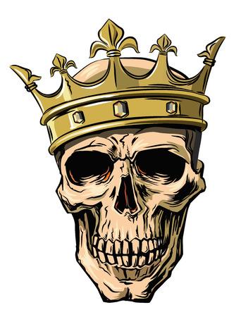 calavera: cráneo del vector con la corona en el fondo blanco