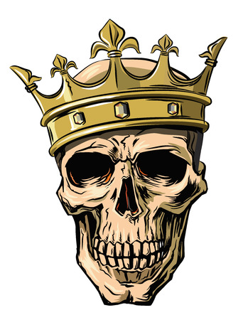 vector skull with crown on white background