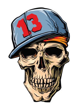 vector skull with Cap on white background Illustration