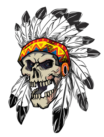 american scull in war bonnet on white background
