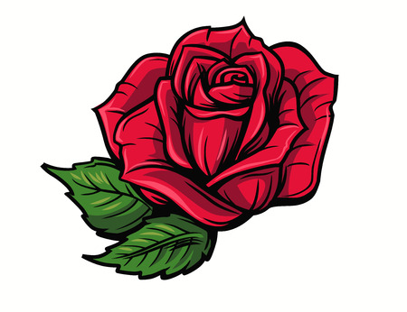 Red rose cartoon style on white background 版權商用圖片 - 64172720
