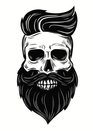 Bearded skull illustration on white background