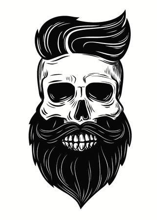 man symbol: Bearded skull illustration on white background
