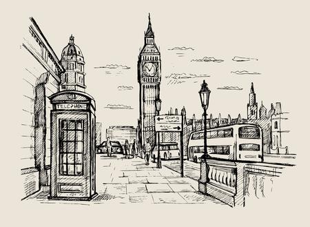 Hand gezeichnete Landschaft von London Stadt Standard-Bild - 64172730