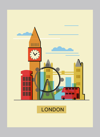london tower bridge: color london icon on beige background Illustration