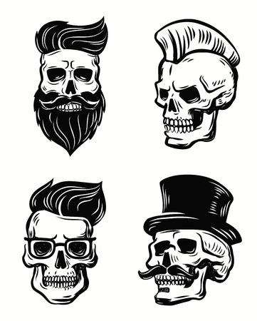 barber shop: set skull illustration on white background