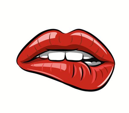 enamorados caricatura: womans labios rojos sobre fondo blanco