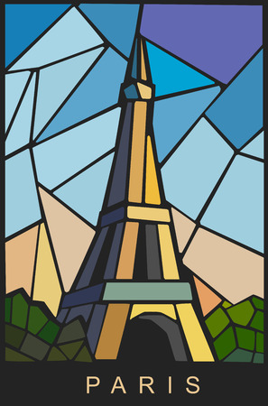Eiffel tower illustration on color background