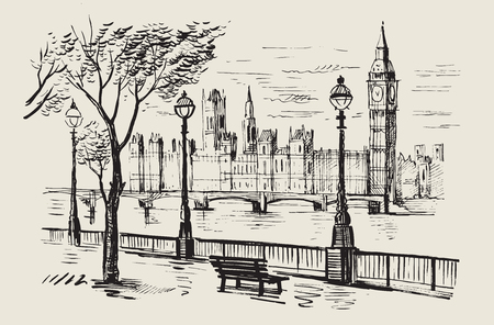 pencil drawing: hand drawn landscape of London city