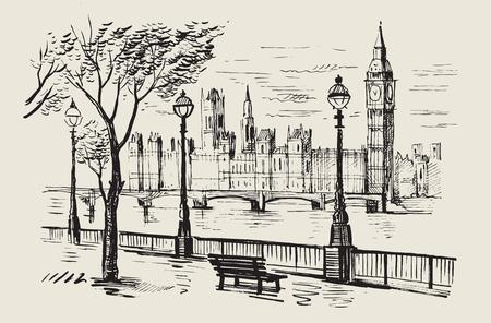 Hand getekende landschap van Londen Stockfoto - 64173139
