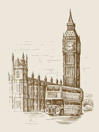 london city: hand drawn landscape of London city