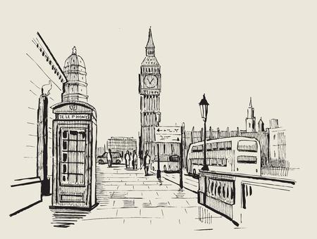 ręcznie rysowane krajobraz miasta Londyn