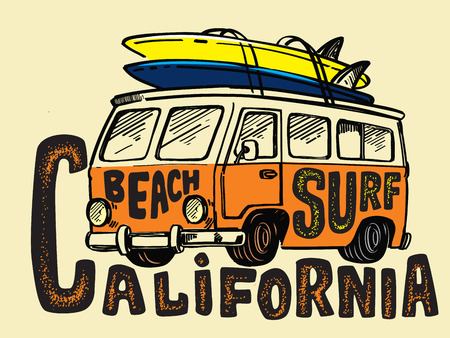 Vector surfing badge. Beach surfer bus emblem
