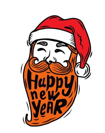 saint nick: Portrait Santa Claus vector illustration on white