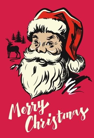saint nick: Portrait Santa Claus vector illustration on red