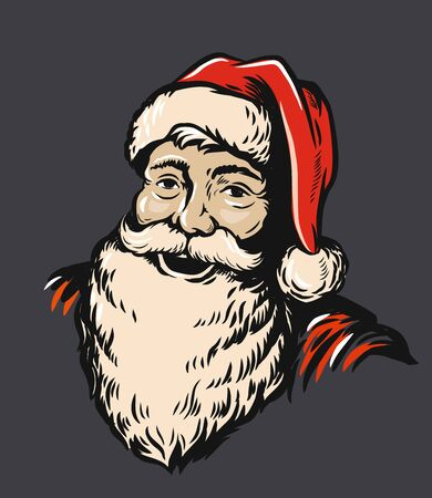 Portrait Santa Claus vector illustration on red