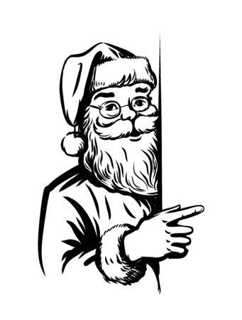 old man portrait: Portrait Santa Claus vector illustration on white