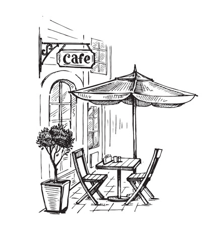 Street cafe in old town vector illustration